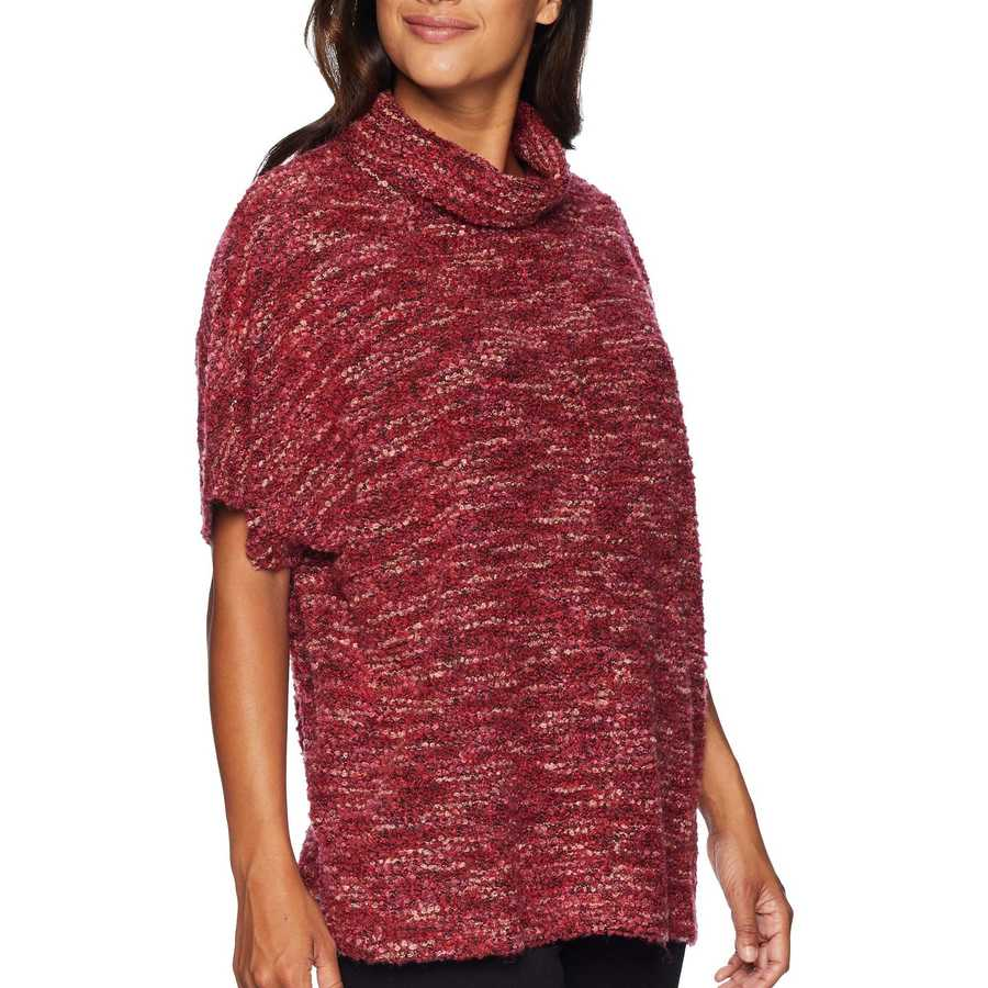 Mod-O-Doc Cranberry Boucle Slouchy Funnel Neck Short Sleeve Pullover