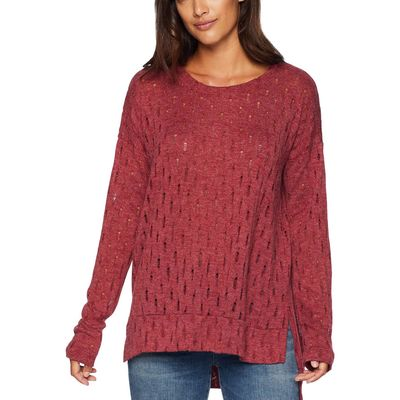 Mod-O-Doc - Mod-O-Doc Cranberry Distressed Sweater Knit Boxy Drop Shoulder Sweater
