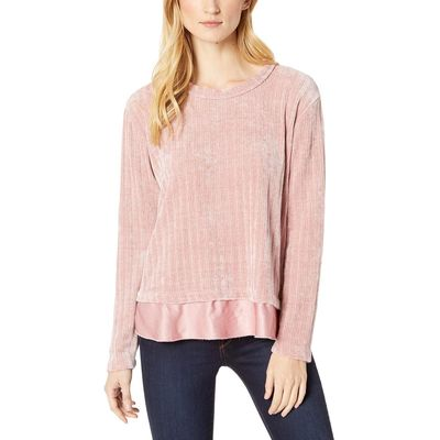 Mod-O-Doc - Mod-O-Doc Dusty Pink Chenille Rib Crew Neck Sweater With Satin Trim
