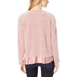 Mod-O-Doc Dusty Pink Chenille Rib Crew Neck Sweater With Satin Trim - Thumbnail