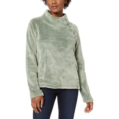 Mod-O-Doc - Mod-O-Doc Dusty Sage Plush Faux Sherpa Buttoned Funnel Neck Pullover