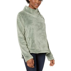 Mod-O-Doc Dusty Sage Plush Faux Sherpa Buttoned Funnel Neck Pullover - Thumbnail
