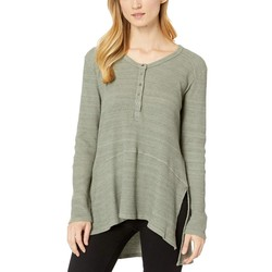 Mod-O-Doc Dusty Sage Space-Dyed Thermal V-Neck Easy Fit Henley - Thumbnail