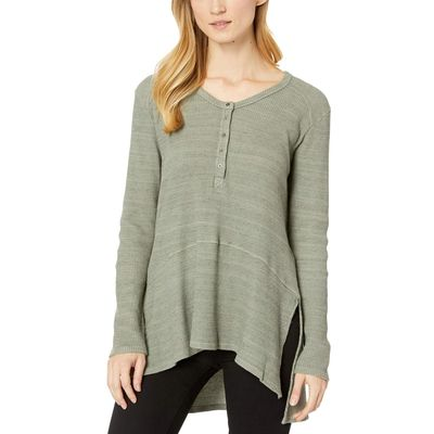 Mod-O-Doc - Mod-O-Doc Dusty Sage Space-Dyed Thermal V-Neck Easy Fit Henley