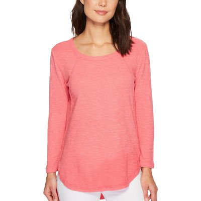 Mod-O-Doc - Mod-O-Doc Faded Red Textured Slub Stripe Raw Edge Seamed Tunic
