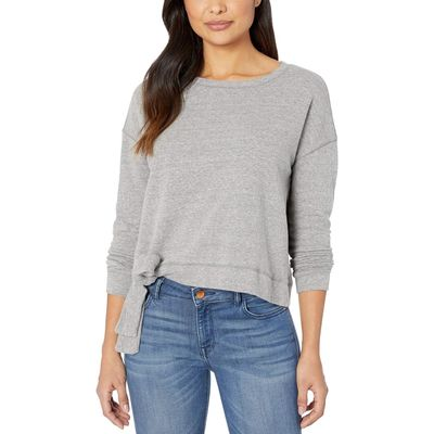 Mod-O-Doc - Mod-O-Doc Grey Heathered French Terry Tie Front Long Sleeve Boxy Pullover