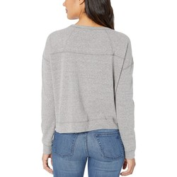 Mod-O-Doc Grey Heathered French Terry Tie Front Long Sleeve Boxy Pullover - Thumbnail