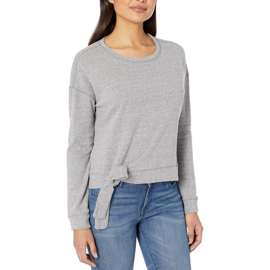 Mod-O-Doc Grey Heathered French Terry Tie Front Long Sleeve Boxy Pullover