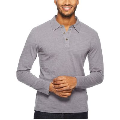 Mod-O-Doc - Mod-O-Doc Grey Sky Salt Point Long Sleeve Slub Jersey Polo