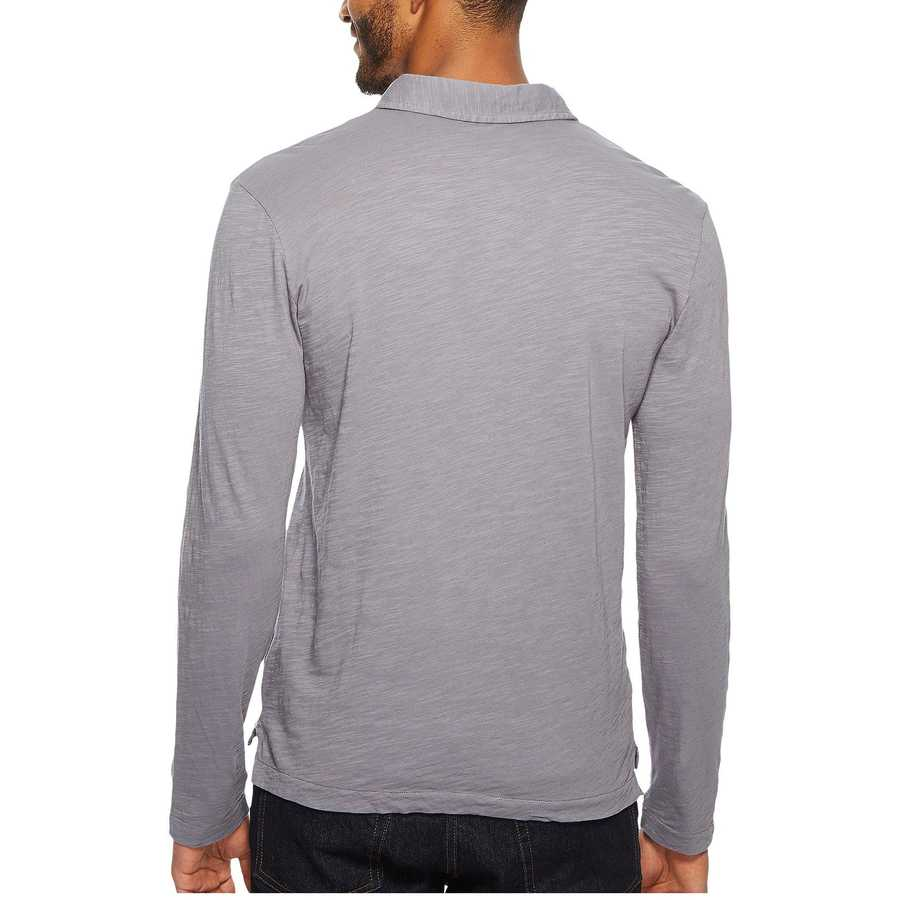 Mod-O-Doc Grey Sky Salt Point Long Sleeve Slub Jersey Polo