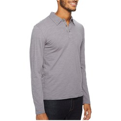 Mod-O-Doc Grey Sky Salt Point Long Sleeve Slub Jersey Polo - Thumbnail