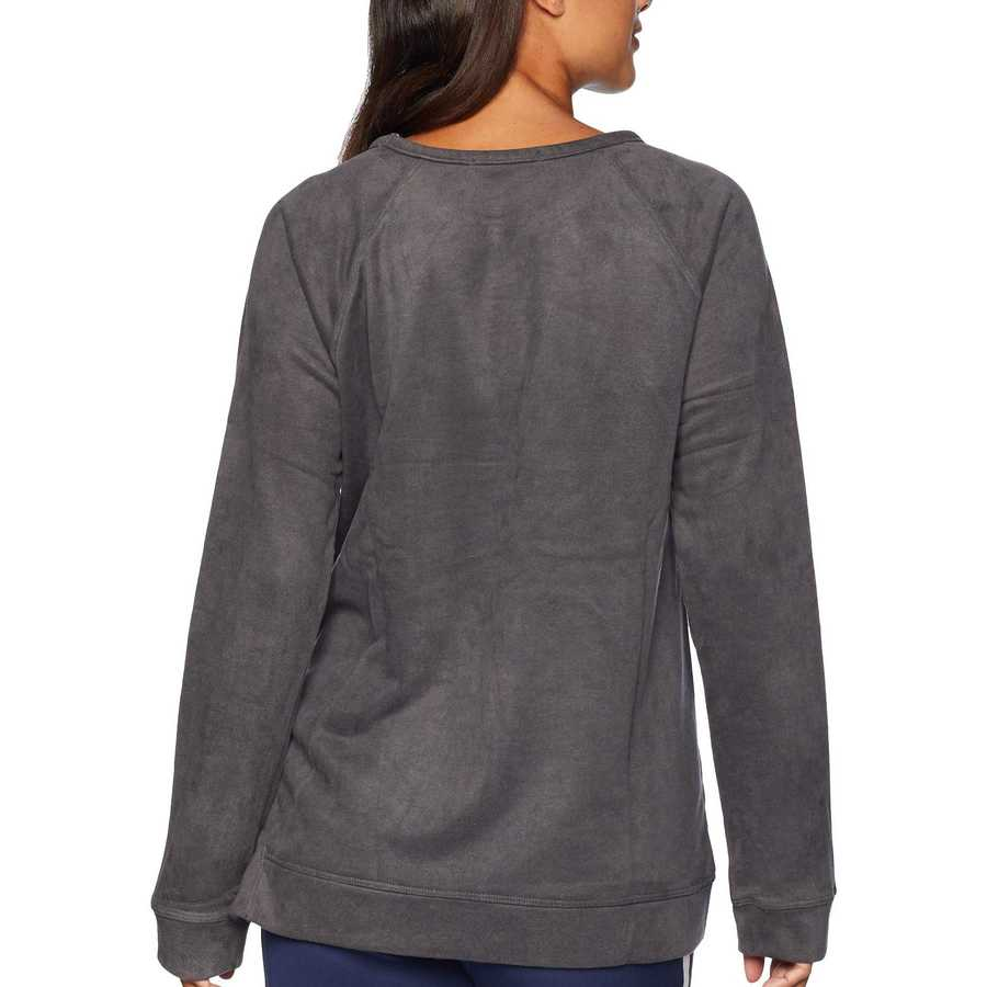 Mod-O-Doc Grey Truly Sueded French Terry Raglan Sleeve Pullover With Side Slit Detail