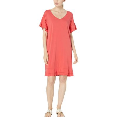 Mod-O-Doc - Mod-O-Doc Hibiscus Cotton Modal Tiered Flounce Sleeve Shift Dress