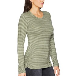 Mod-O-Doc Holly Heathered Jersey Stripe Twisted Collar Side Shirred Long Sleeve Tee - Thumbnail