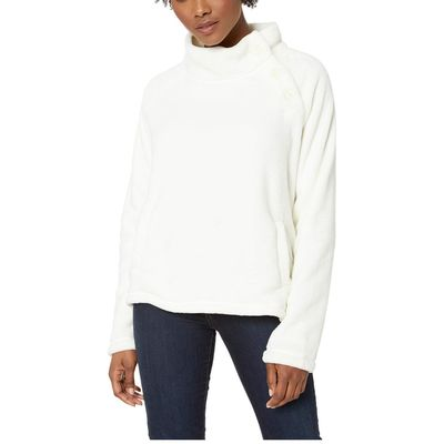 Mod-O-Doc - Mod-O-Doc Ivory Plush Faux Sherpa Buttoned Funnel Neck Pullover