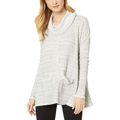 Mod-O-Doc - Mod-O-Doc Natural Spacedyed Thermal Long Sleeve Swingy Cowl Neck Pullover