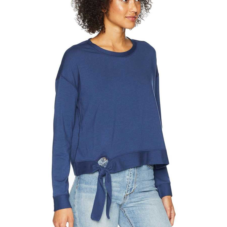 Mod-O-Doc New Navy Cotton Modal Spandex French Terry Drop Shoulder Sweatshirt With Tie