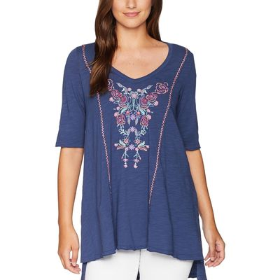 Mod-O-Doc - Mod-O-Doc New Navy Slub Jersey Swing Tunic With Embroidery And Hand Stitching