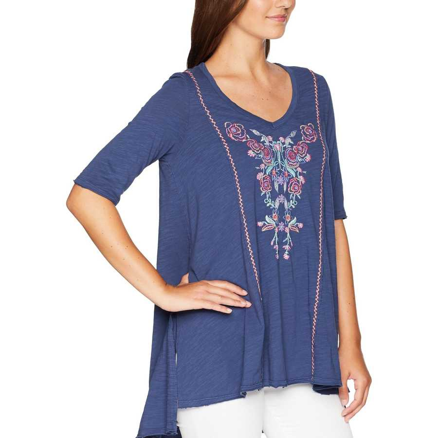 Mod-O-Doc New Navy Slub Jersey Swing Tunic With Embroidery And Hand Stitching