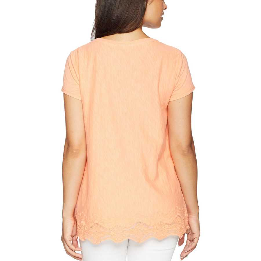 Mod-O-Doc Orangesicle Heavier Slub Jersey Short Sleeve Boxy Tee With Embroidered Hem