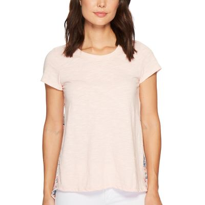 Mod-O-Doc - Mod-O-Doc Peach Micro Stripe Short Sleeve T-Shirt W/ Pleated Contrast Back Panel