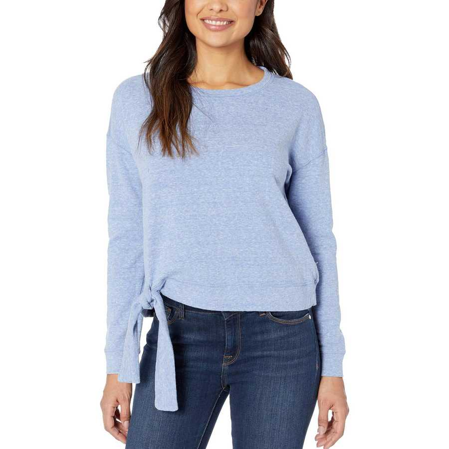 Mod-O-Doc Peri Heathered French Terry Tie Front Long Sleeve Boxy Pullover