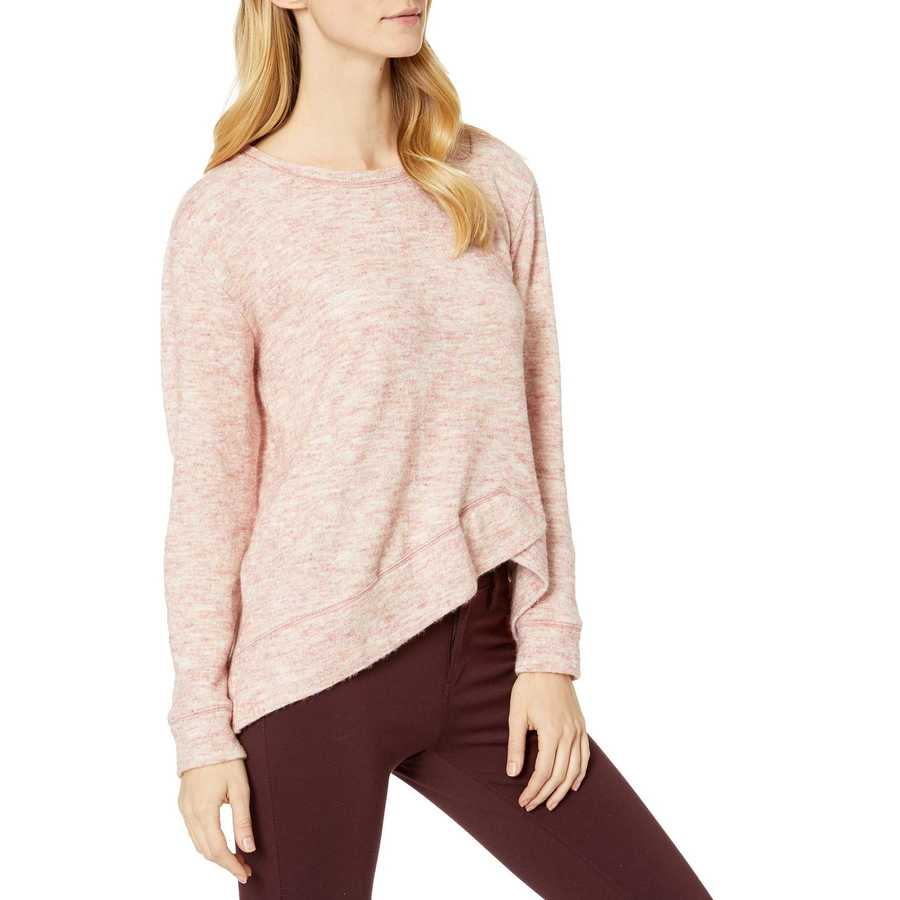 Mod-O-Doc Pink Warm And Cozy Sweater Crew Neck Pullover With Overlapped Hem