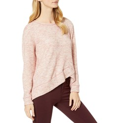 Mod-O-Doc Pink Warm And Cozy Sweater Crew Neck Pullover With Overlapped Hem - Thumbnail