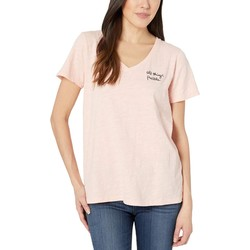 Mod-O-Doc Seashell All Things Possible Embroidered V-Neck Tee İn Slub Jersey - Thumbnail