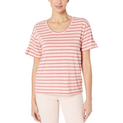 Mod-O-Doc - Mod-O-Doc Seashell Pintuck Sleeve Easy Fit Tee İn Two-Color Stripe