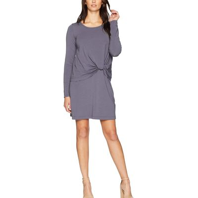 Mod-O-Doc - Mod-O-Doc Shady Cotton Modal Spandex Jersey Long Sleeve Dress With Twisted Hem Overlay