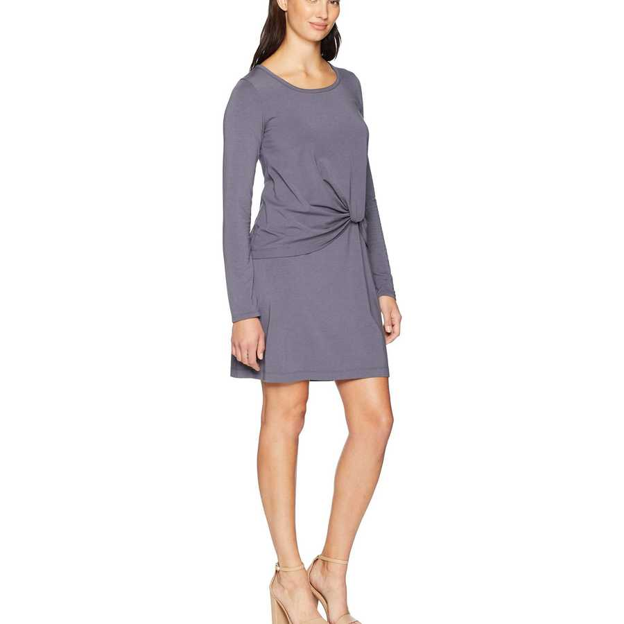 Mod-O-Doc Shady Cotton Modal Spandex Jersey Long Sleeve Dress With Twisted Hem Overlay