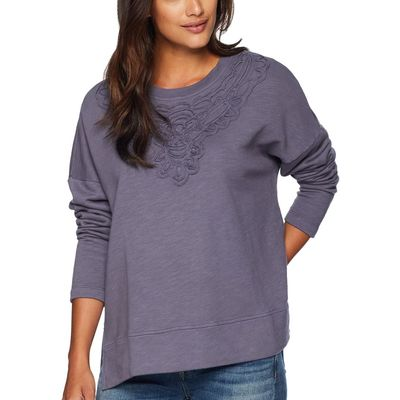 Mod-O-Doc - Mod-O-Doc Shady Slub French Terry Boxy Pullover With Soutache Applique