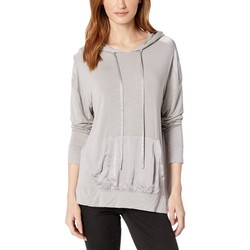 Mod-O-Doc Silverstone Rayon Spandex Slub Jersey Long Sleeve Hooded Tee With Satin Trim - Thumbnail