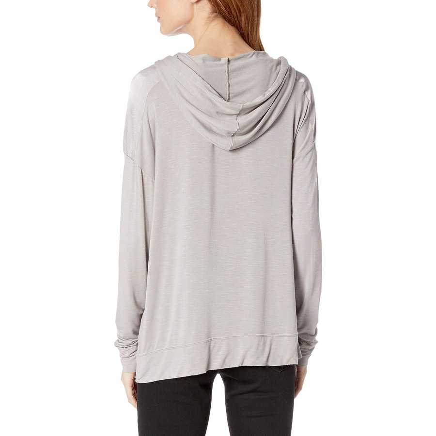 Mod-O-Doc Silverstone Rayon Spandex Slub Jersey Long Sleeve Hooded Tee With Satin Trim