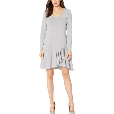 Mod-O-Doc - Mod-O-Doc Smoke Heather Cotton Modal Spandex Jersey Long Sleeve V-Neck Dress With Asymmetrical Flounce