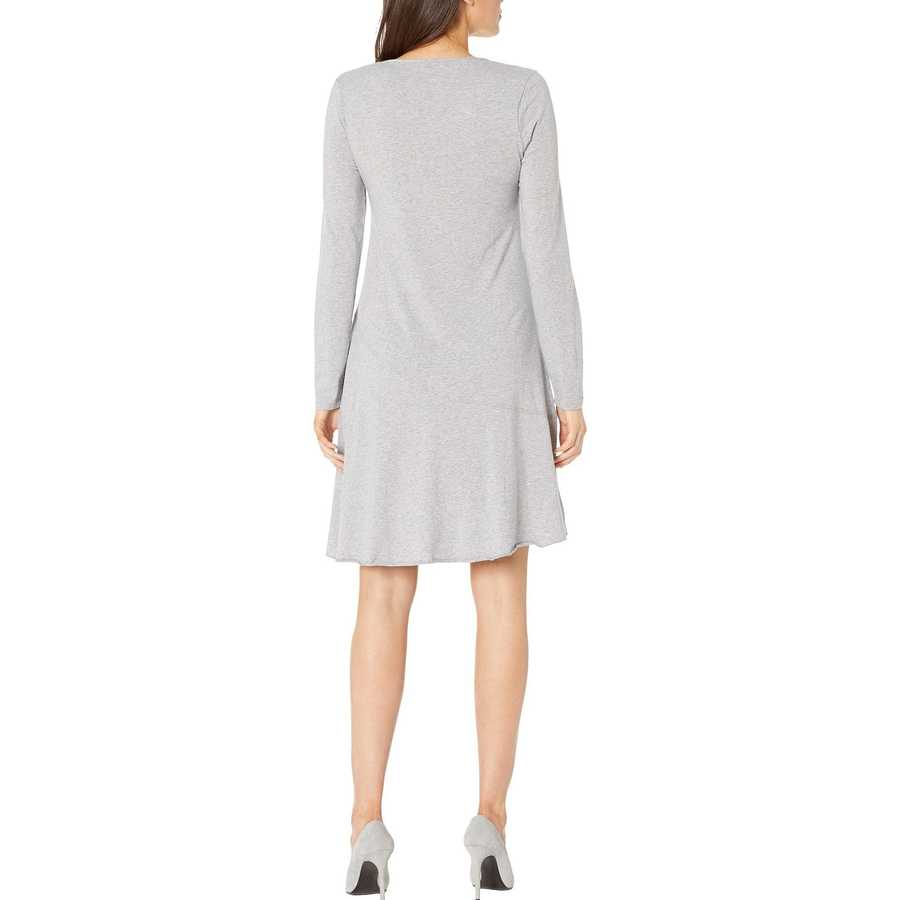 Mod-O-Doc Smoke Heather Cotton Modal Spandex Jersey Long Sleeve V-Neck Dress With Asymmetrical Flounce