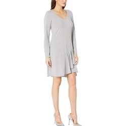 Mod-O-Doc Smoke Heather Cotton Modal Spandex Jersey Long Sleeve V-Neck Dress With Asymmetrical Flounce - Thumbnail