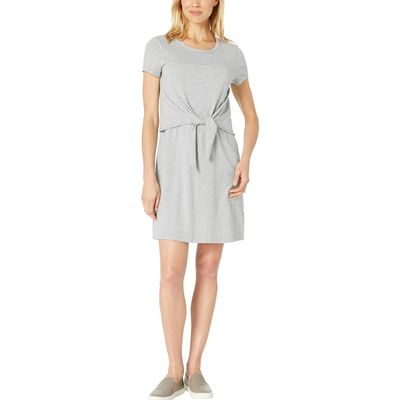 Mod-O-Doc - Mod-O-Doc Smoke Heather Short Sleeve T-Shirt Dress With Tie Front İn Cotton Modal Spandex Jersey