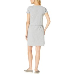 Mod-O-Doc Smoke Heather Short Sleeve T-Shirt Dress With Tie Front İn Cotton Modal Spandex Jersey - Thumbnail