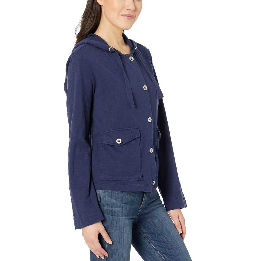 Mod-O-Doc True Navy Button Front Hoodie With Patch Pockets İn Heavier Slub Jersey