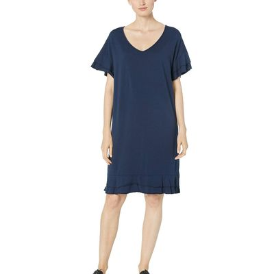 Mod-O-Doc - Mod-O-Doc True Navy Cotton Modal Tiered Flounce Sleeve Shift Dress