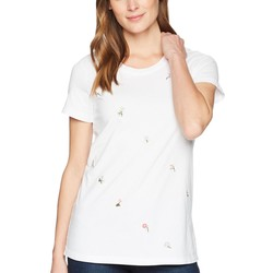 Mod-O-Doc White Classic Jersey Ditsy Embroidered Short Sleeve T-Shirt - Thumbnail