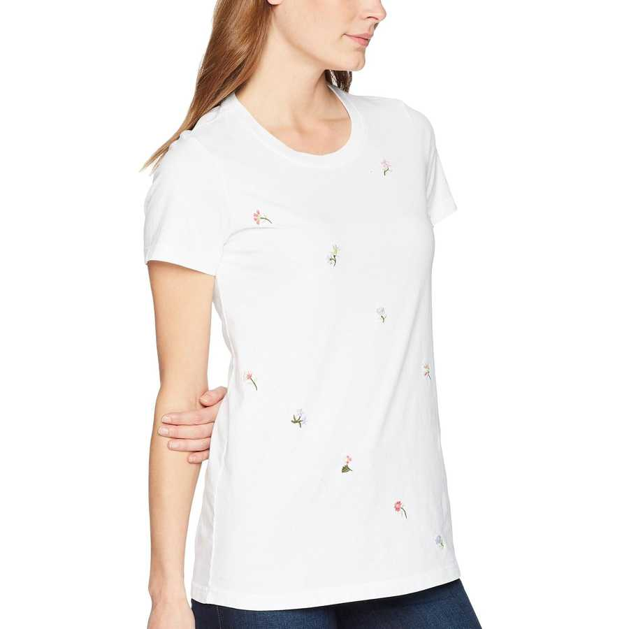Mod-O-Doc White Classic Jersey Ditsy Embroidered Short Sleeve T-Shirt