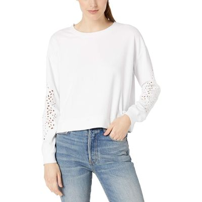 Mod-O-Doc - Mod-O-Doc White Cotton Interlock Sweatshirt With Embroidered Sleeves