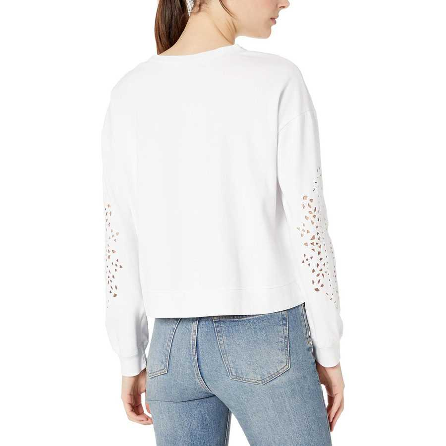 Mod-O-Doc White Cotton Interlock Sweatshirt With Embroidered Sleeves