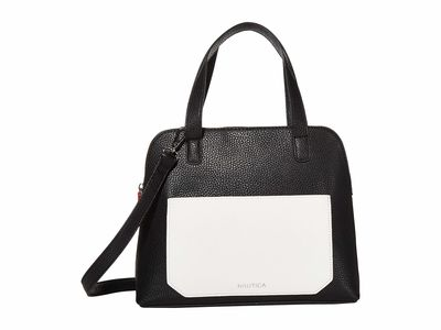 Nautica - Nautica Black/White/Cornbread Stomping Ground Dome Satchel Handbag