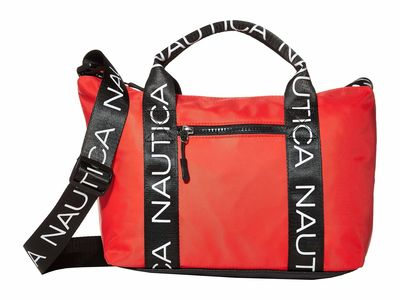 Nautica - Nautica Coral/Black Bean Bag Soft Satchel Handbag