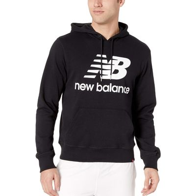 New Balance - New Balance Black Essentials Stacked Logo Pullover Hoodie