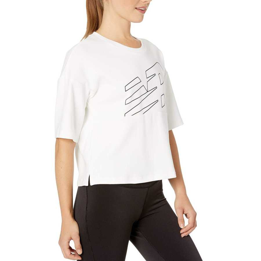 New Balance White Athletics Crop Jersey
